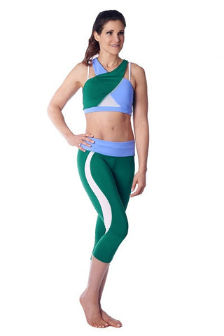 Wrap Sports Bra- green, blue & pink