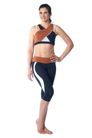 Wrap Sports Bra- brown, black & white