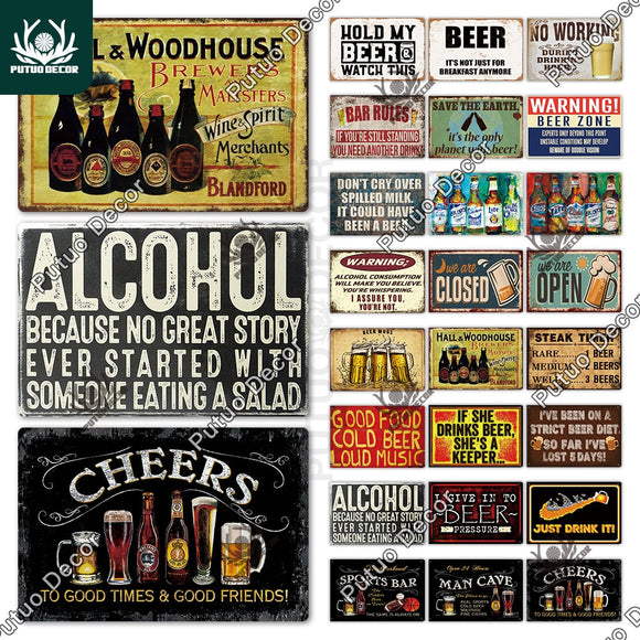 Beer Metal Sign Plaque Metal Vintage Pub FunnyTin Sign Wall Decor for Bar Pub Club Man Cave Tin Plates Vintage Metal Signs|Plaques & Signs