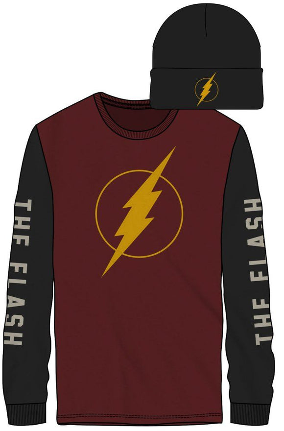 DC COMICS - FLASH - Logo Front The Flash On Sleeves Men's Red/Black LS Tee W/ Black Beanie