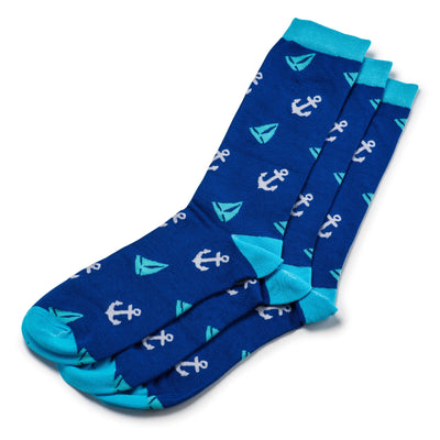 Colorful Abyss Teal, Light Blue and White Bamboo Socks with sailboats and anchors