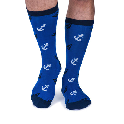 Colorful Abyss Navy Blue and White Bamboo Socks with sailboats and anchors