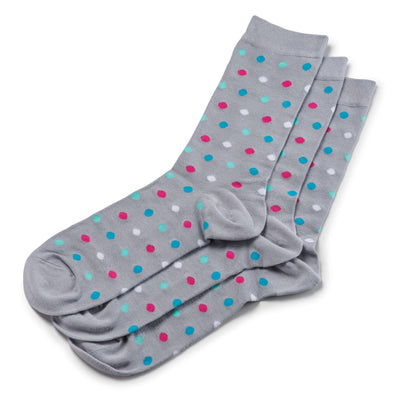 Colorful Bumble Pink, Blue, Teal and Grey Bamboo Socks with Polka Dots