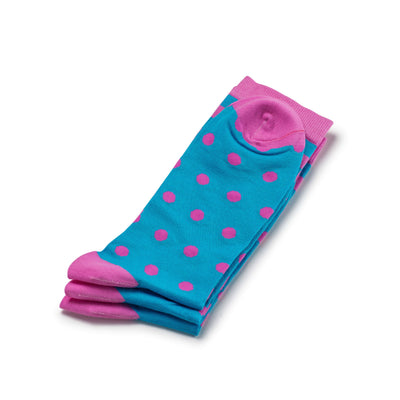 Colorful Charlie Pink and Blue Bamboo Socks with Polka Dots and Stripes
