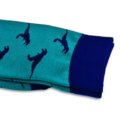 Colorful Rex Navy Blue and Forest Green Bamboo Socks with Raptors and Dinosaur Design