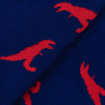 Colorful Rex Navy Blue and Red Bamboo Socks with Raptors and Dinosaur Design