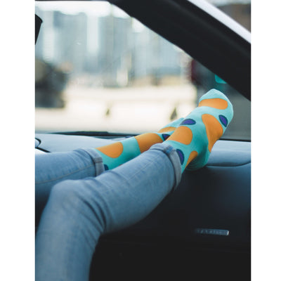 Colorful Eclipse Teal, Purple and Orange Bamboo Socks with Big Polka Dots