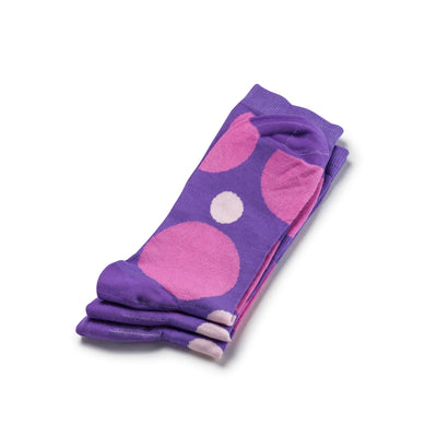 Colorful Eclipse Purple and Pink Bamboo Socks with Big Polka Dots