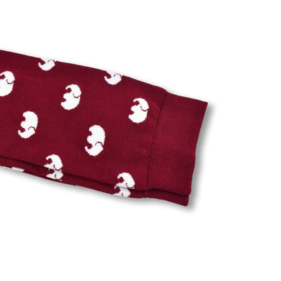Colorful Elle White and Burgundy Bamboo Socks with Elephant Design