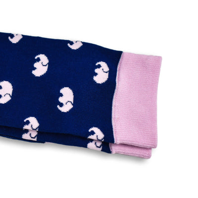 Colorful Elle Pink and Navy Blue Bamboo Socks with Elephant Design
