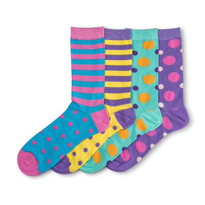 4 pairs of Colorful, Bold, and Soft Bamboo Socks with variety of designs in a bundle gift box