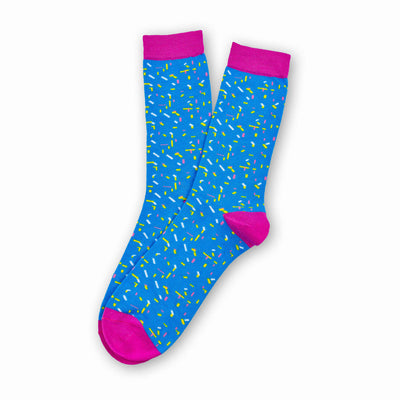 Colorful Elle White, Yellow, Light Blue and Pink Bamboo Socks with Confetti Design