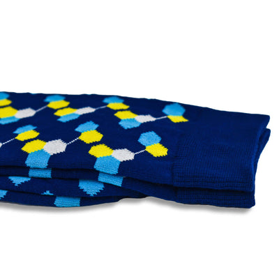Colorful Helix White, Yellow and Navy Blue Bamboo Socks with Hexagon Designs