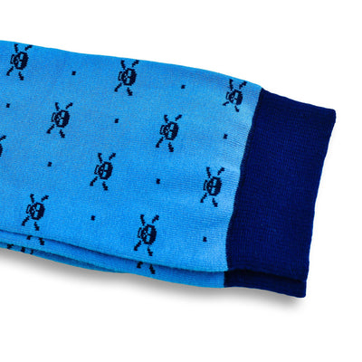 Colorful McQueen Navy Blue and Light Blue Bamboo Socks with Skull Designs