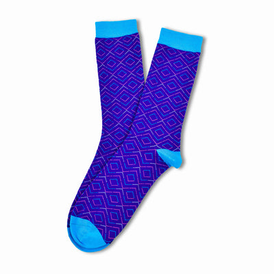Colorful Pandora Light Blue, Pink, Purple Bamboo Socks with Argyle Design