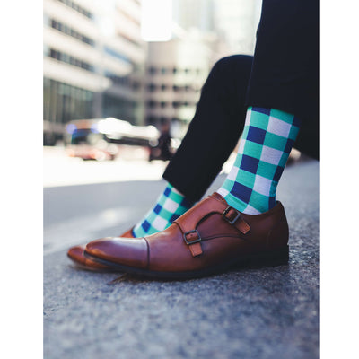 Colorful Regal White, Navy Blue and Teal Bamboo Socks with Checker Design