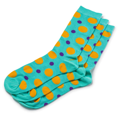 Colorful Spot Teal, Orange and Purple Bamboo Socks with Polka Dot Design