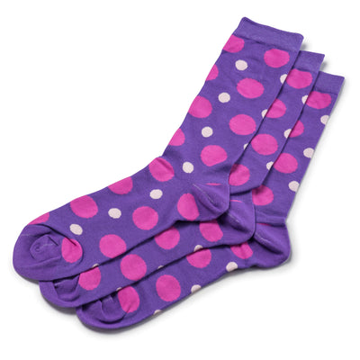 Colorful Spot Pink and Purple Bamboo Socks with Polka Dot Design