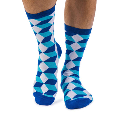 Colorful Tangram White, Dark Navy and Light Blue Bamboo Socks with Cube and 3D Design