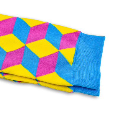 Colorful Tangram Yellow, Pink and Light Blue Bamboo Socks with Cube and 3D Design