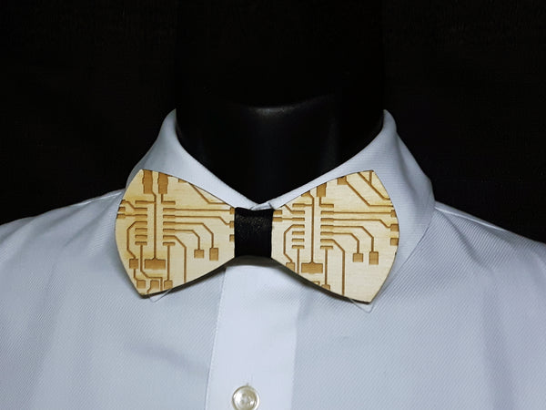 Circuit Board Wood Bowtie