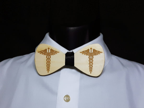 Medical Symbol  Wood Bowtie