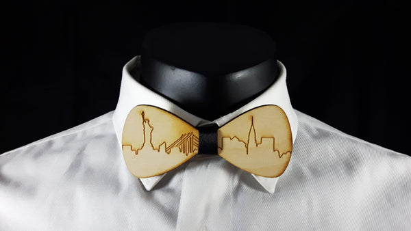 New York City Skyline Wood Bowtie
