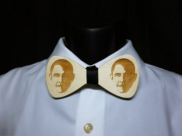 Barack Obama Portrait Wood Bowtie