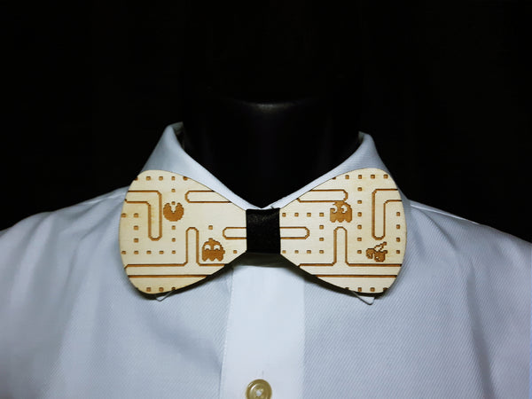 Pacman Video Game Wood Bowtie