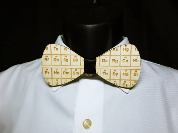 Periodic Table Wood Bowtie