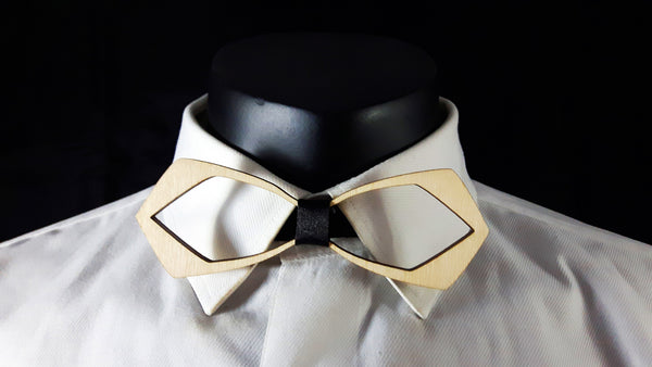 Pointed Outline Wood Bowtie
