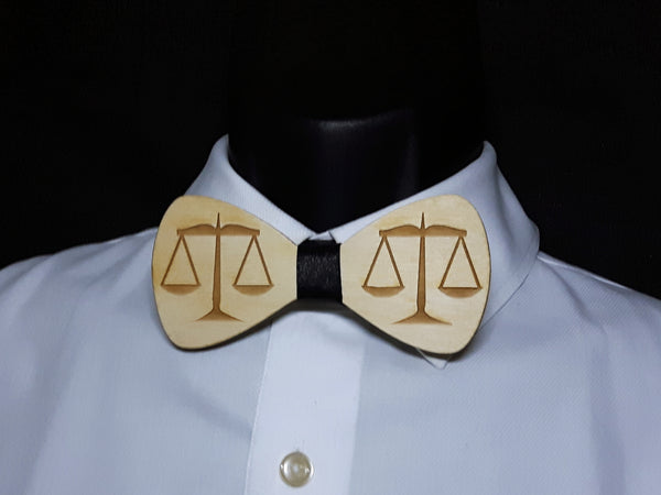 Scale of Justice Wood Bowtie