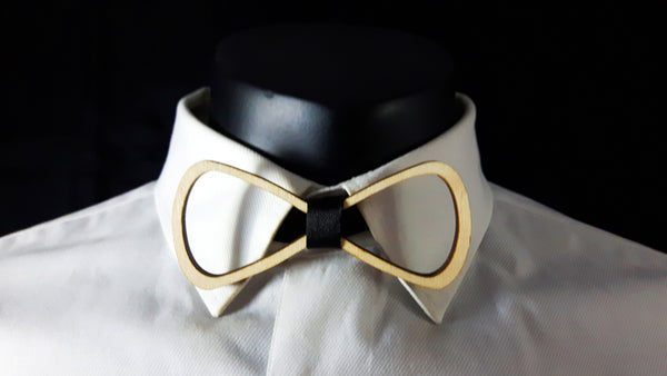 Rounded Outline Wood Bowtie