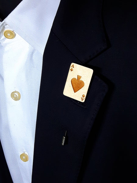 Ace of Spades Wood Lapel