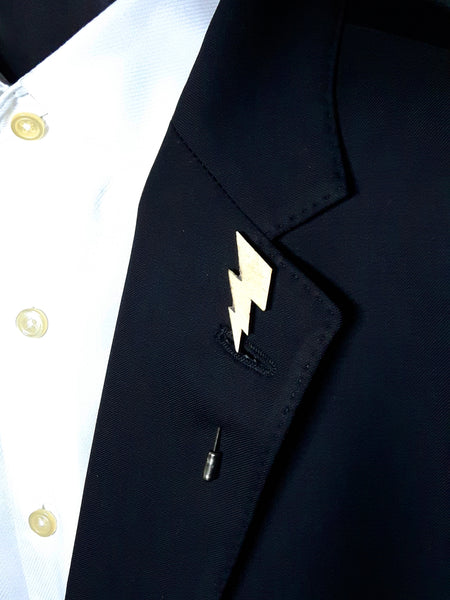 Lightening Bolt Wood Lapel