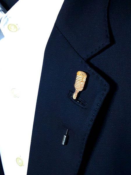 Microphone Wood Lapel