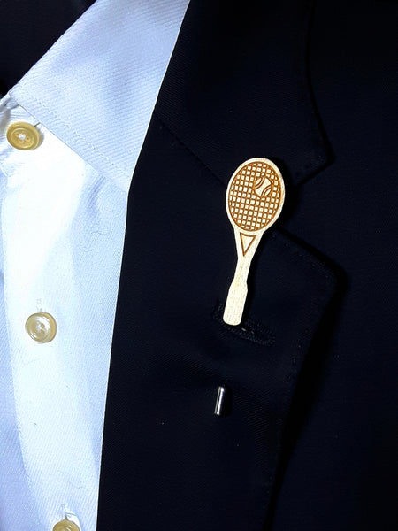 Tennis Racket/Racquet Wood Lapel