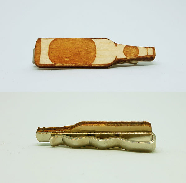 Beer Bottle Wood Tie Bar