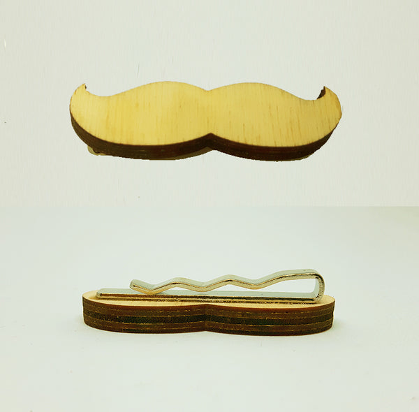 Mustache Wood Tie Bar