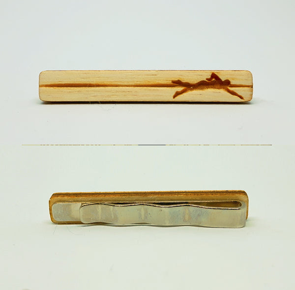 Swimmer Wood Tie Bar