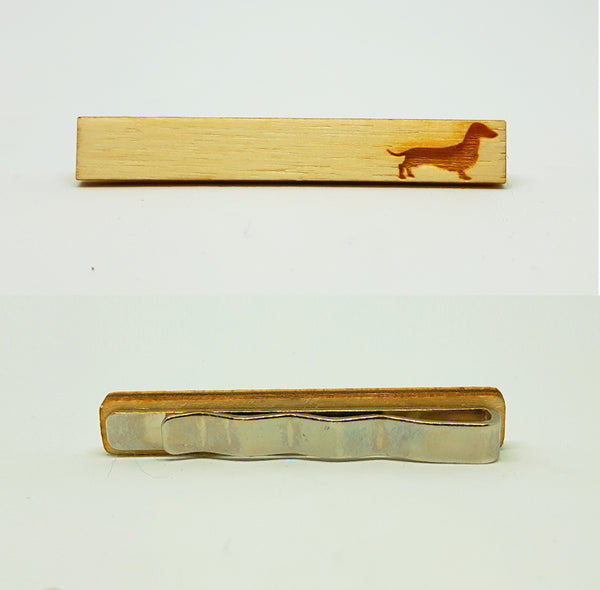 Dachshund aka Weiner Dog Wood Tie Bar