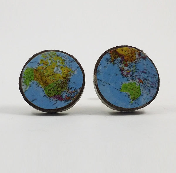 Blue World Map Cufflinks