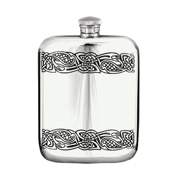 6 0z Celtic pewter purse flask - Cel 178- Celtic bands at top and bottom of facade www.deerstalkerofscotland.com