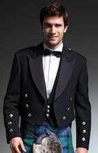 Prince Charlie Kilt Jacket and 3 Button waistcoat in Black