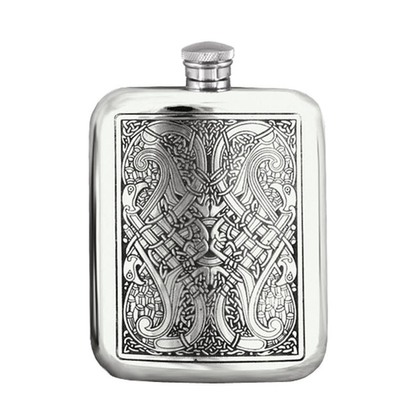 6 Ounce Celtic pewter purse hip flask Cel 128