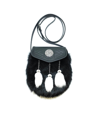 Black leather with black rabbit fur and white rabbit tassled sporran bag