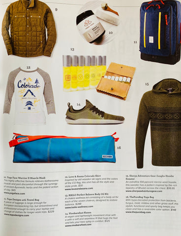 Love and Asana Colorado baseball tee featured in CO Yoga Magazine