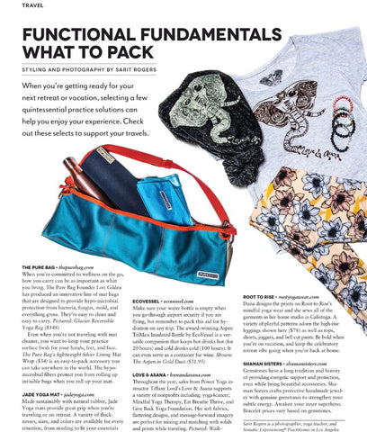 Love and Asana featured in LA Yoga magazine essentials to pack yoga trip