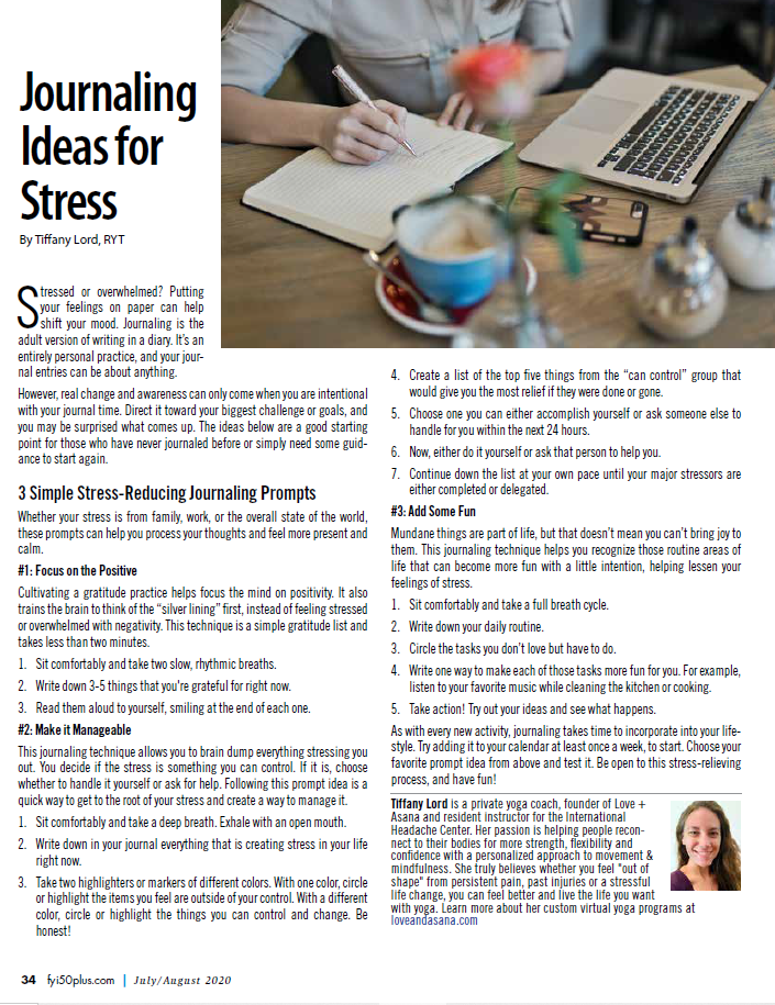 article journal prompts for stress by Tiffany Lord, fyi50+ magazine