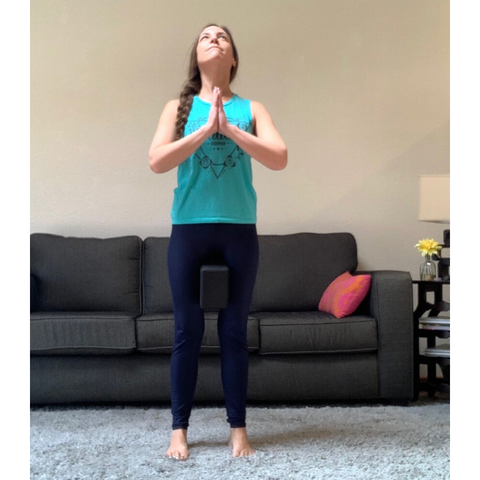 mountain pose with yoga block for better posture and leg strength Tiffany Lord private virtual yoga